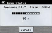 Anzeige der aktuellen Akku-Messwerte, Kalkulation der verbleibenden Kapazität